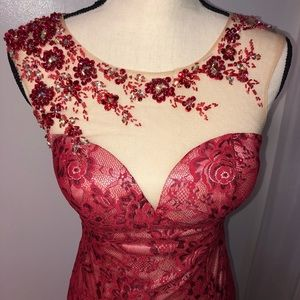 Dave & Johnny Dresses - Red Lace Bejeweled Dress (Dave & Johnny)
